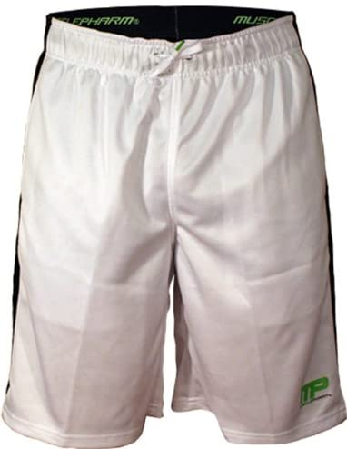Shop MusclePharm White Athletic Shorts Black And Green Stripe, Size: Medium (M) (Pack of 1) online  mens-athletic-shorts