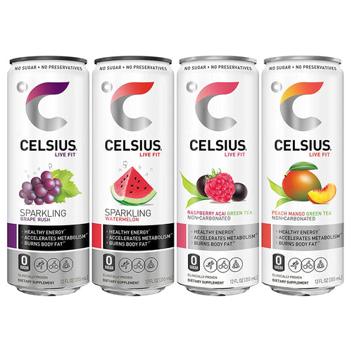 Shop CELSIUS Live Fit Fitness & Energy Drink, 12-Pack, Carbonated & Non-Carbonated Assortment Pack online  energy-drinks