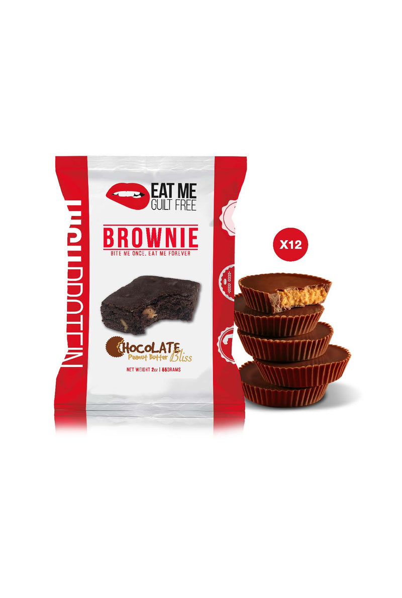 Shop Eat Me Guilt Free, Chocolate Peanut Butter Bliss Brownie, 12 Count online  sports-nutrition-cookies-and-brownies
