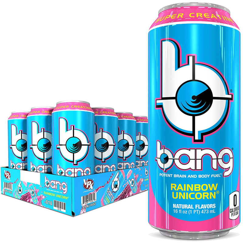 Shop Bang Energy Drink, Rainbow Unicorn, 16 Fluid Ounce (12 Pack) online  sports-nutrition-endurance-and-energy-drinks