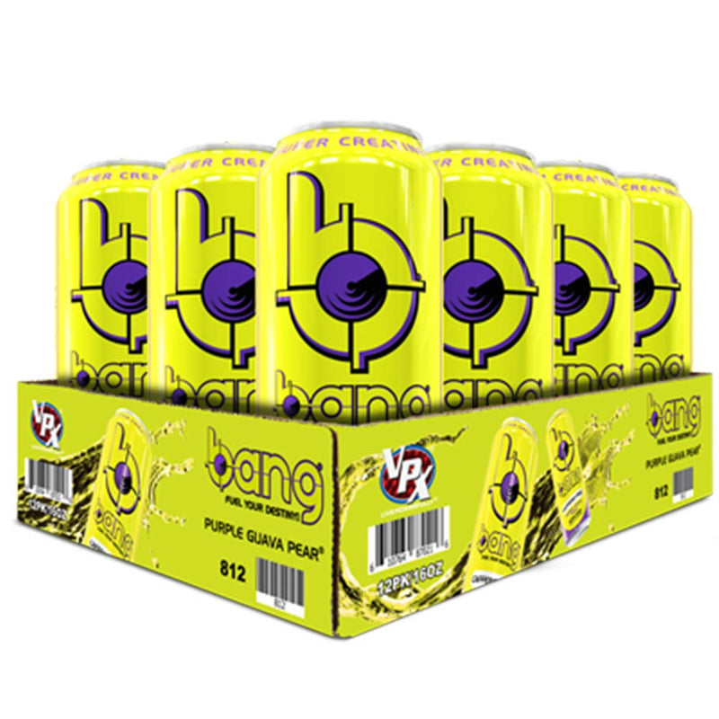 Shop Bang Energy Drink, Caffeine Free Purple Guava Pear, 16 Fluid Ounce (12 Pack) online  sports-nutrition-endurance-and-energy-drinks