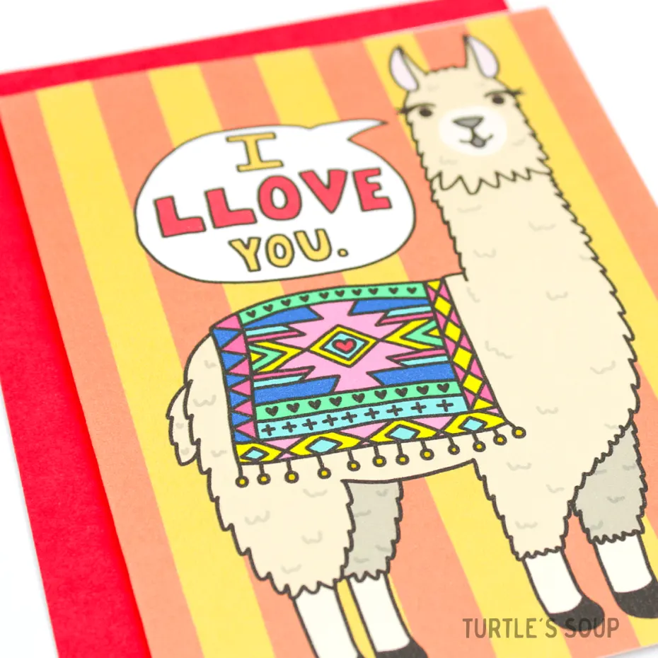 Turtle's Soup - I Llove You. Llama Alpaca Card