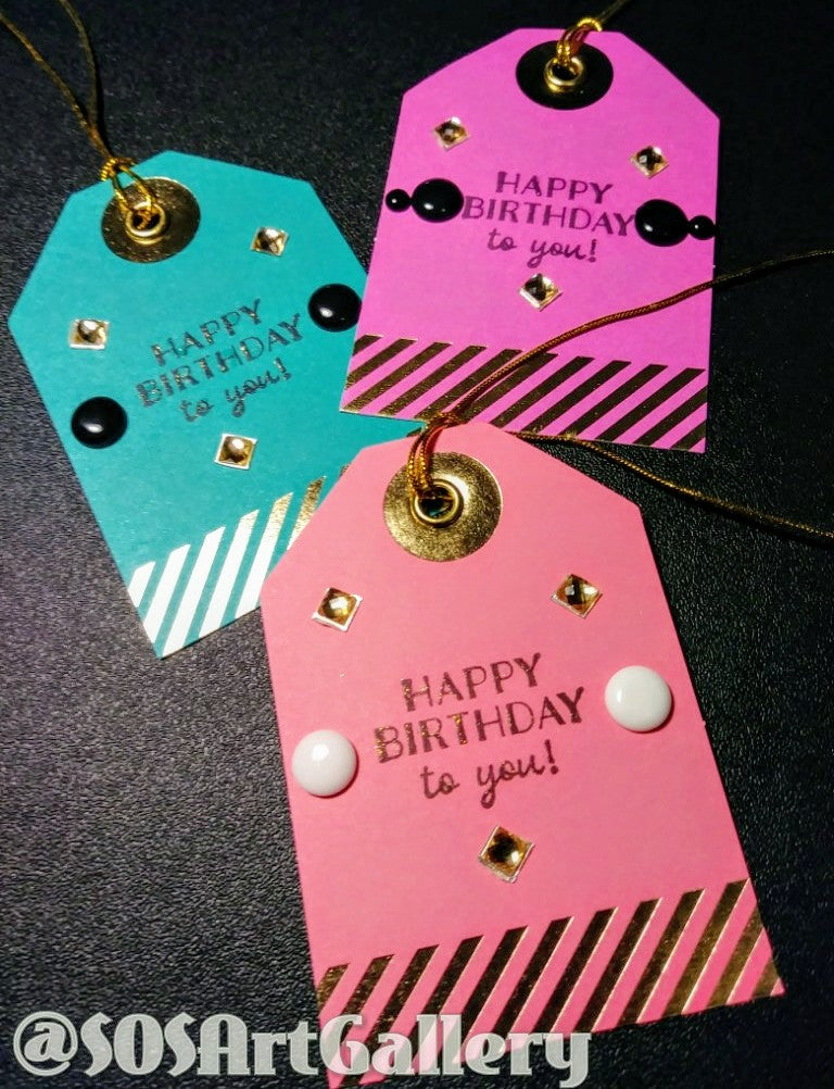 GIFT TAGS: Handstamped and embellished gift tag sets of 3 by @SOSArtGallery