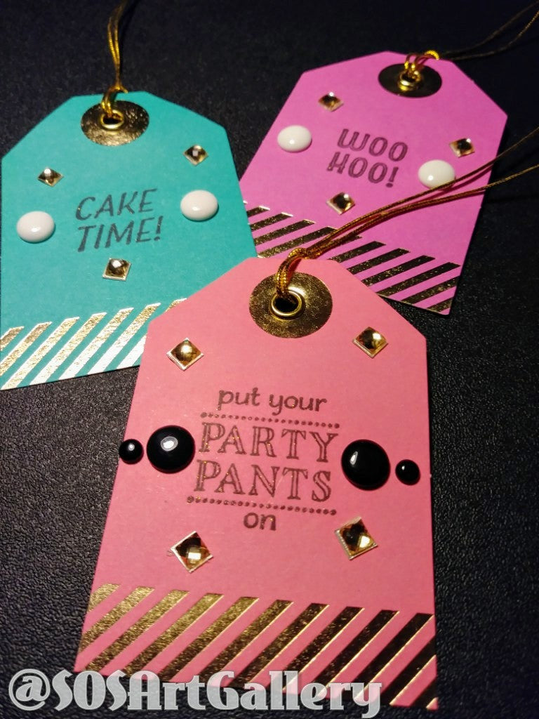 GIFT TAGS: Handstamped and embellished gift tag sets of 3 by Kathryn McHenry