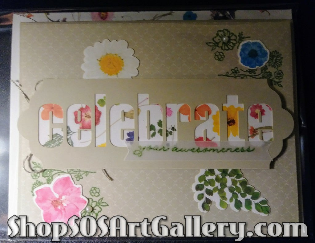 WILDFLOWER WISHES: Handmade Celebrate Greeting Card by @SOSArtGallery