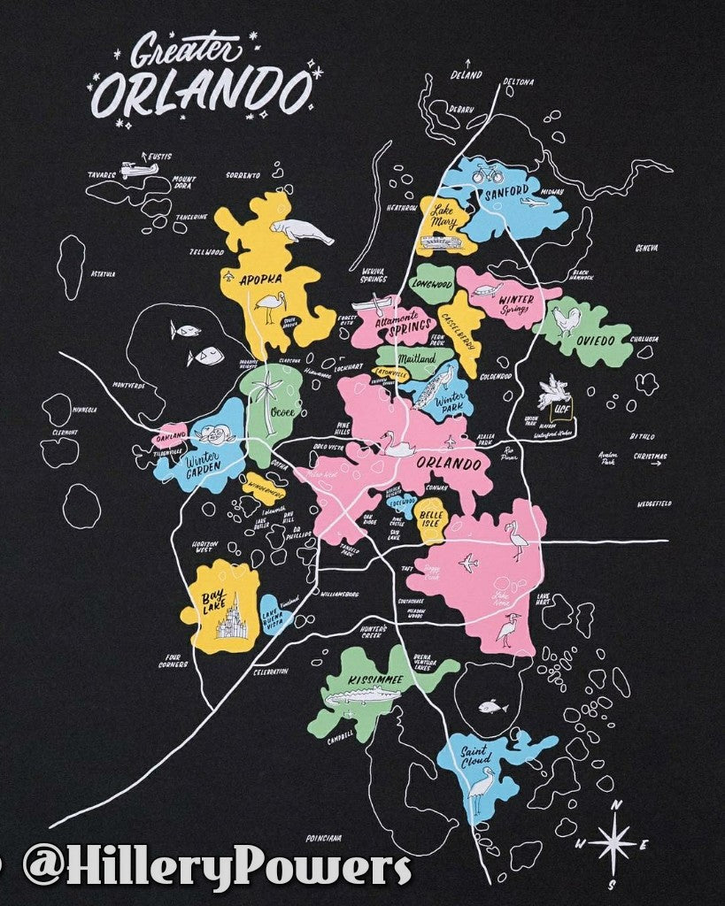 PRINTS: 18x24 Greater Orlando Map Print by Local Artisan