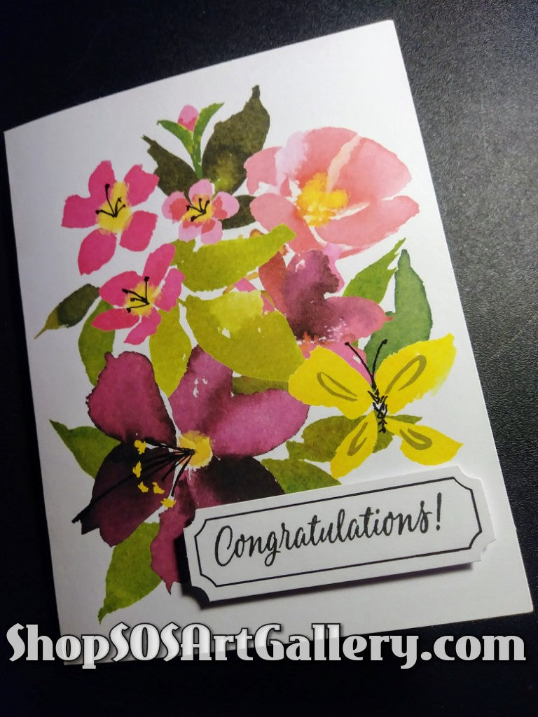 BLISSFUL BLOOMS: Handmade Congratulations Greeting Card by @SOSArtGallery