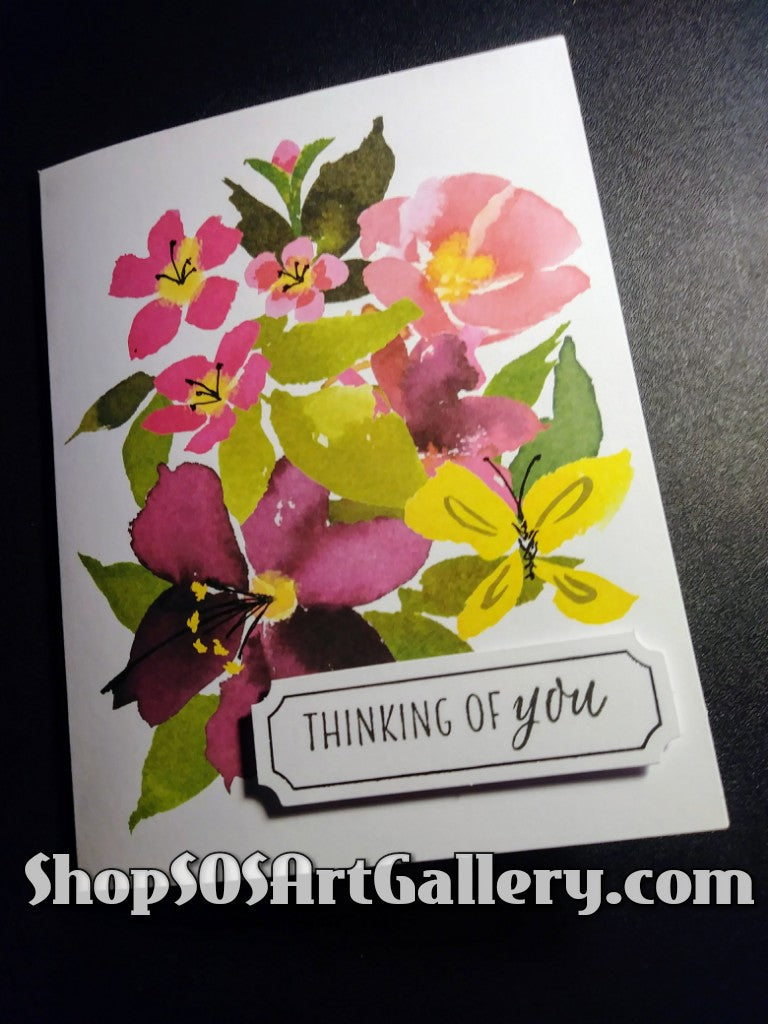 BLISSFUL BLOOMS: Handmade Thinking Of You Greeting Card by @SOSArtGallery