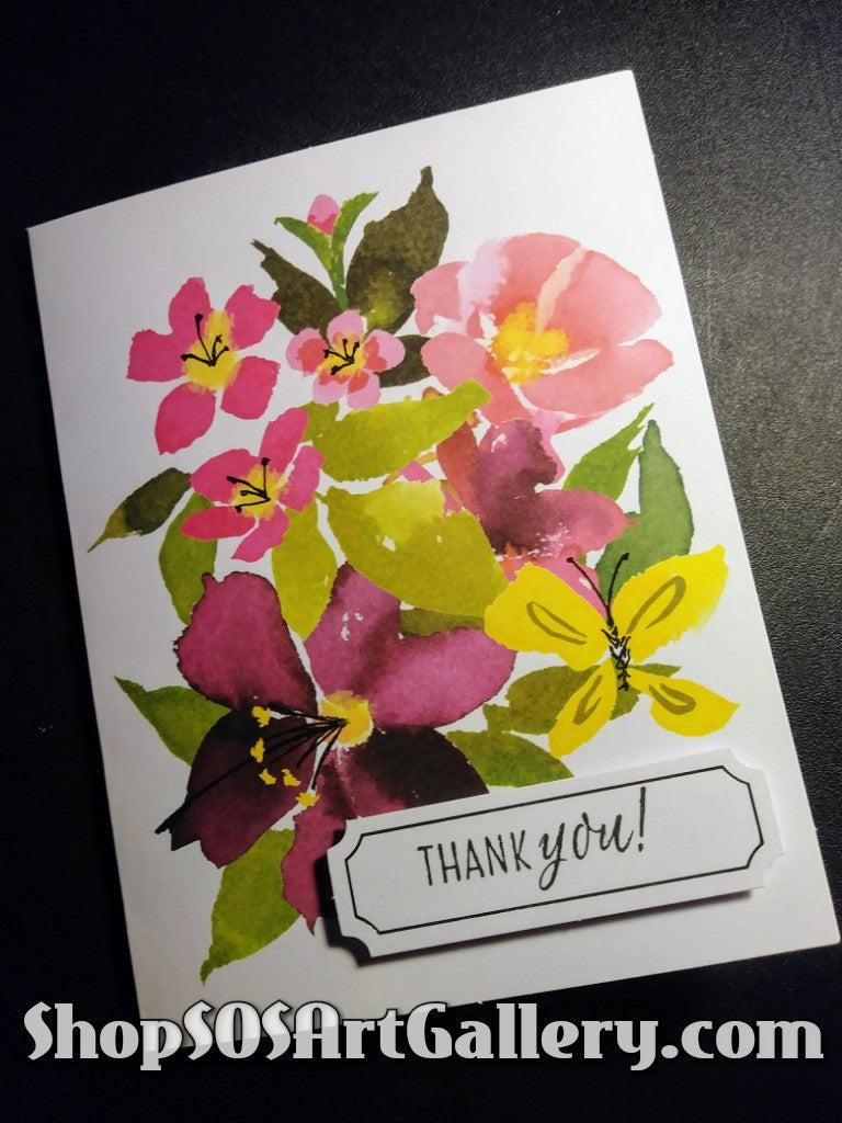 BLISSFUL BLOOMS: Handmade Thank You Greeting Card by @SOSArtGallery