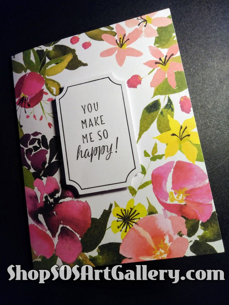 BLISSFUL BLOOMS: Handmade Happiness Greeting Card by @SOSArtGallery
