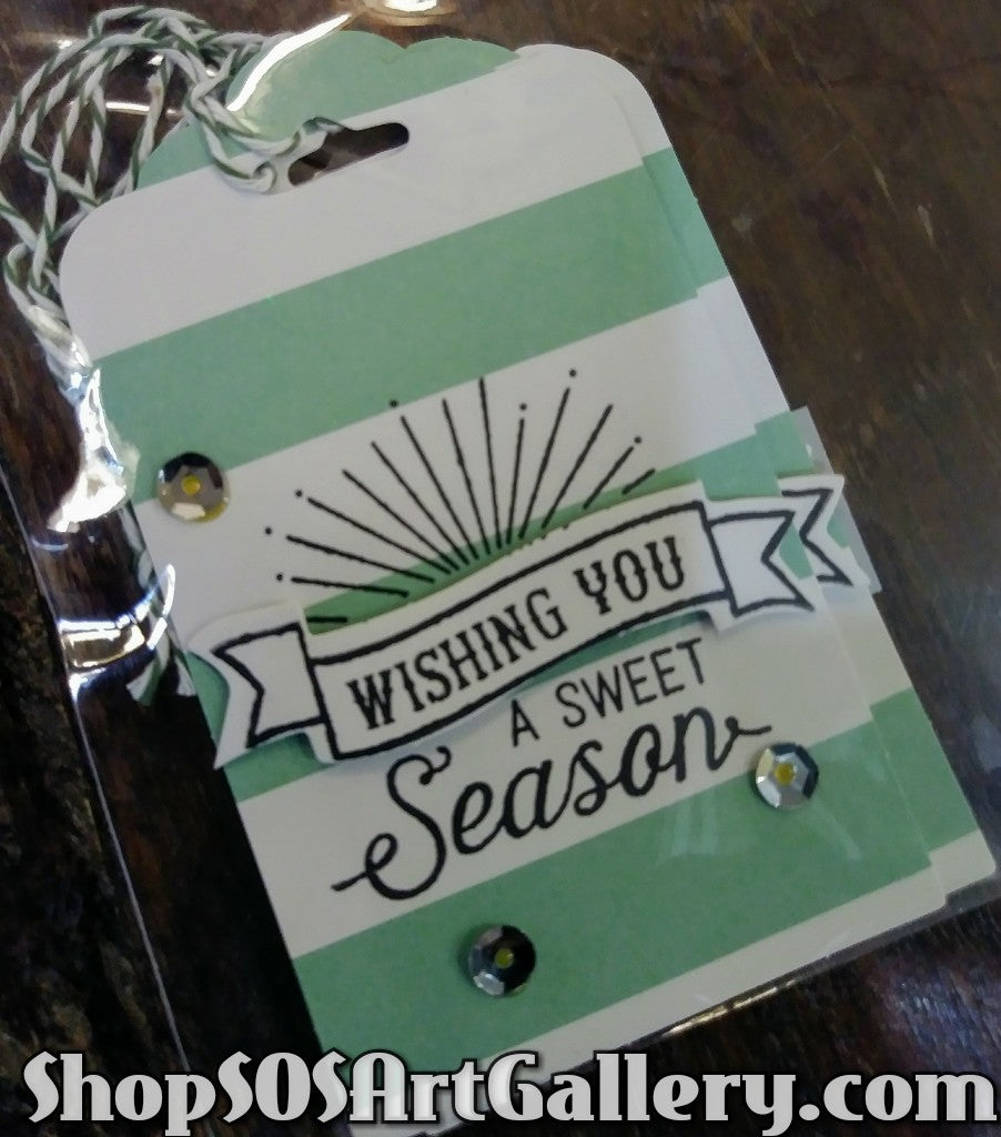 HOLIDAY: Handstamped and embellished gift tag sets of 3 by Kathryn McHenry