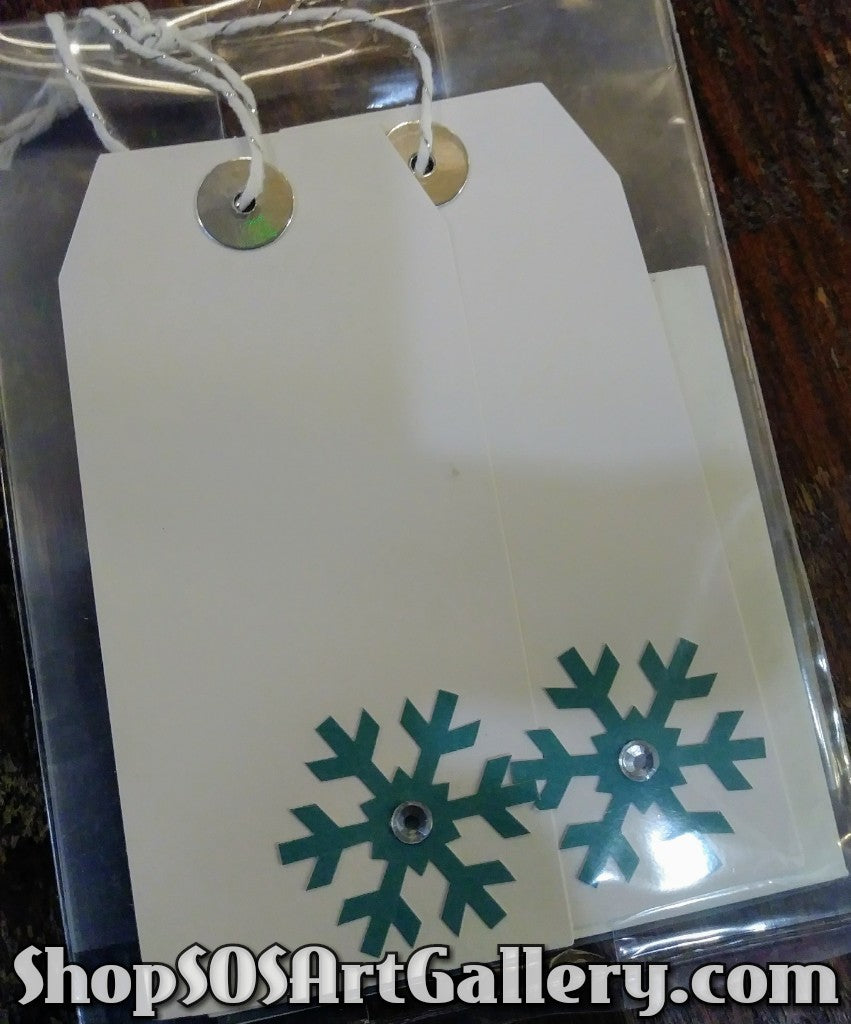 HOLIDAY: Handstamped and embellished gift tag sets of 3 by @SOSArtGallery