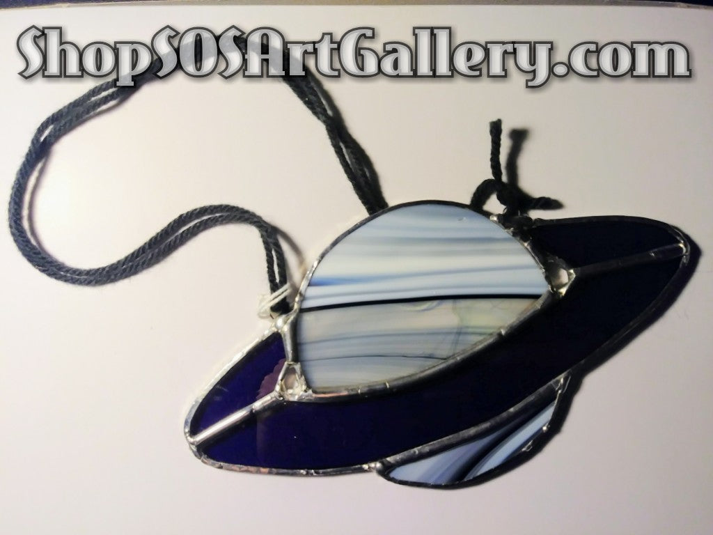 GLASS ART: Stained Glass Planet Decor by @SOSArtGallery Artisan