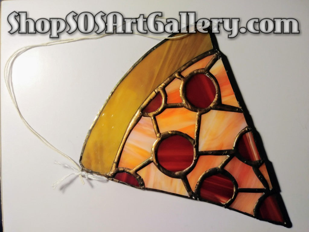 GLASS ART: Stained Glass Pizza Decor by @SOSArtGallery Artisan