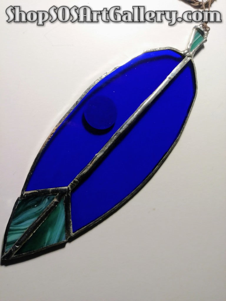GLASS ART: Stained Glass Feather by @SOSArtGallery Artisan