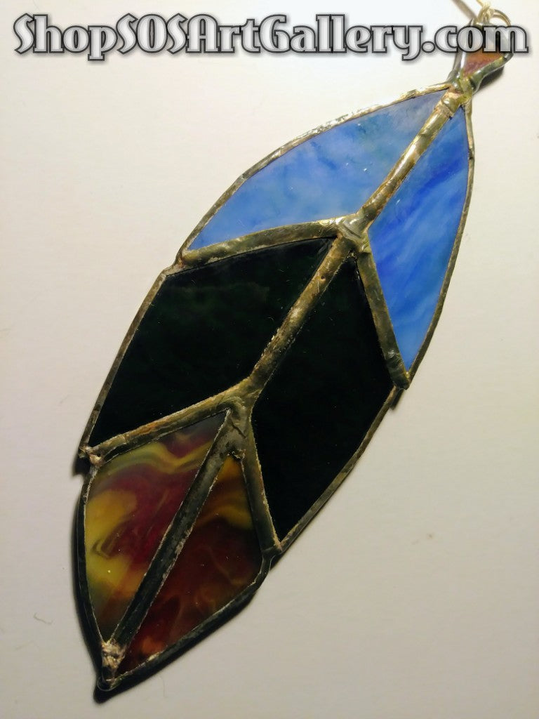 GLASS ART: Stained Glass Feather by Local Artisan