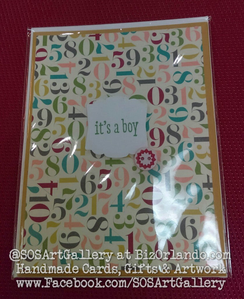 BABY BOY: Handmade Greeting Card by @SOSArtGallery