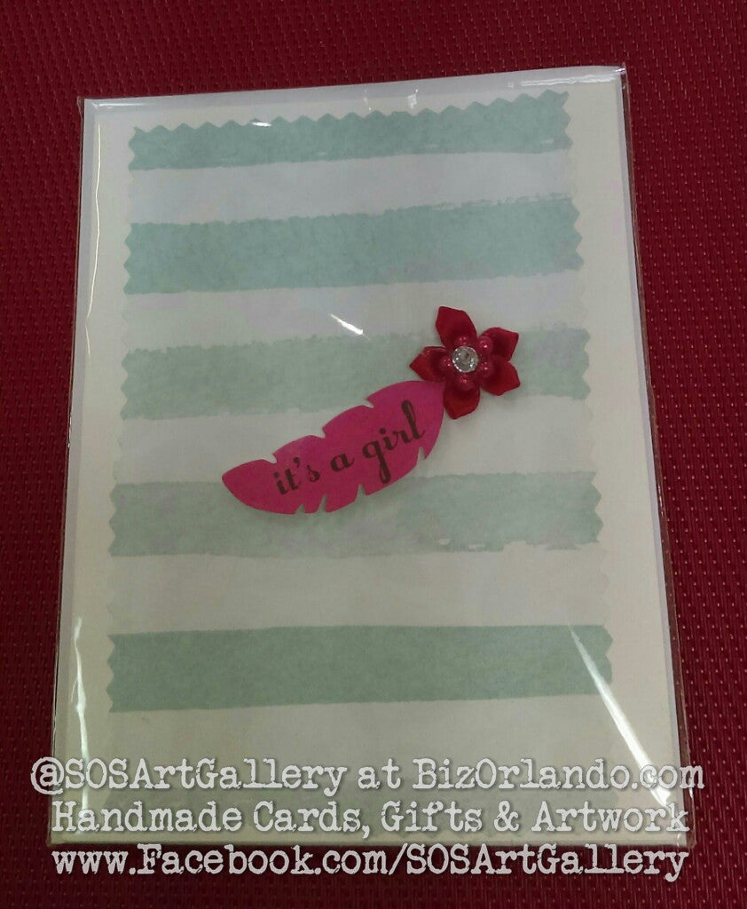 BABY GIRL: Handmade Greeting Card by @SOSArtGallery