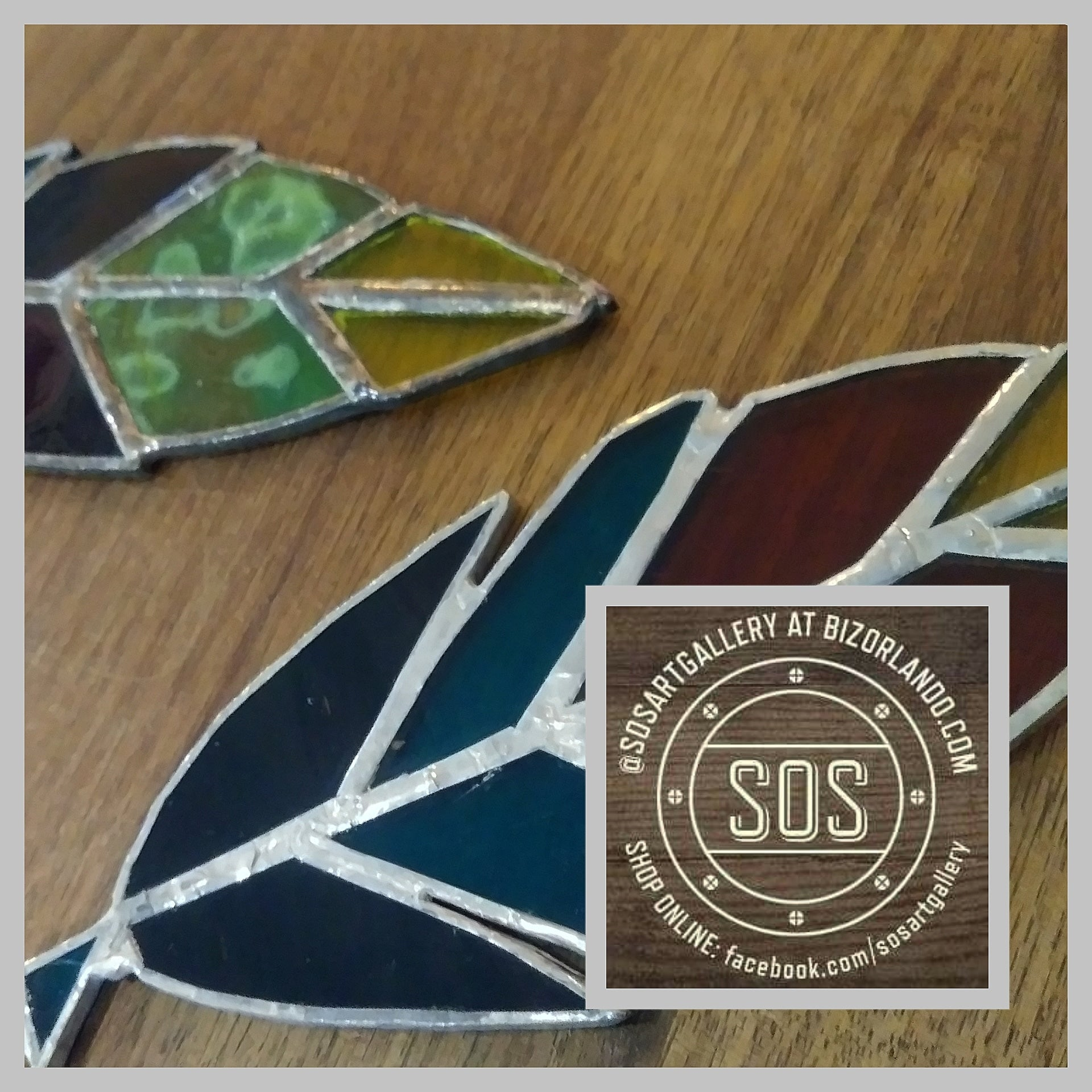 GLASS ART: Stained Glass Feathers by @SOSArtGallery Artisan