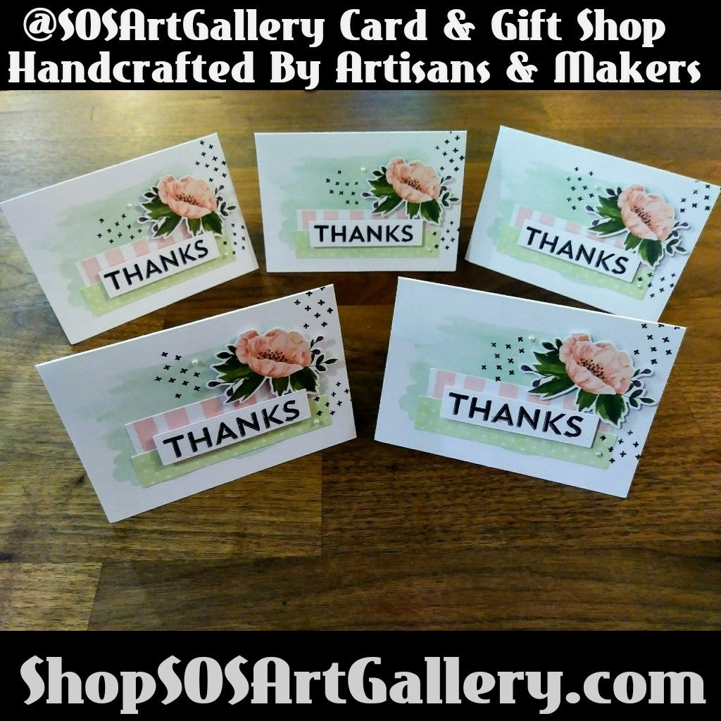 THANK YOU: Handmade Greeting Card by @SOSArtGallery
