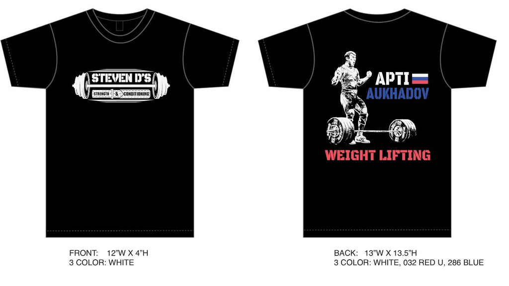 Steven D's Apti Aukhadov Weightlifting T shirt
