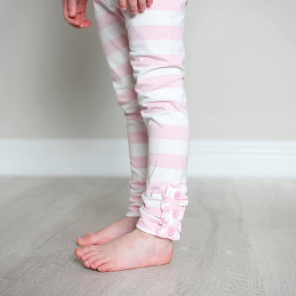 Light Pink Stripe Button Legging
