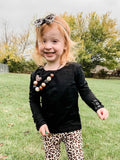 Black Long Sleeve Button Top