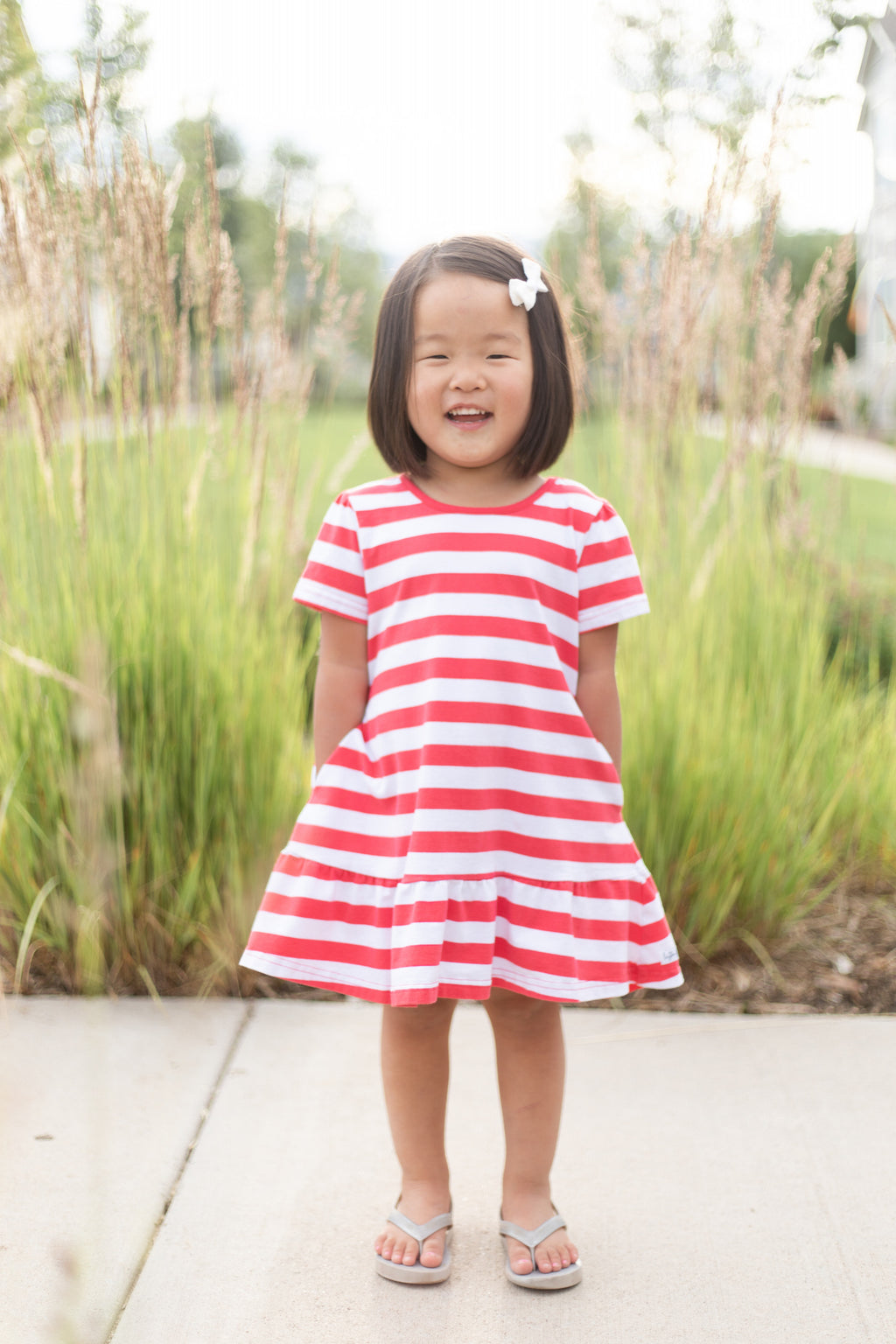 Amelia Hot Coral Stripe Dress