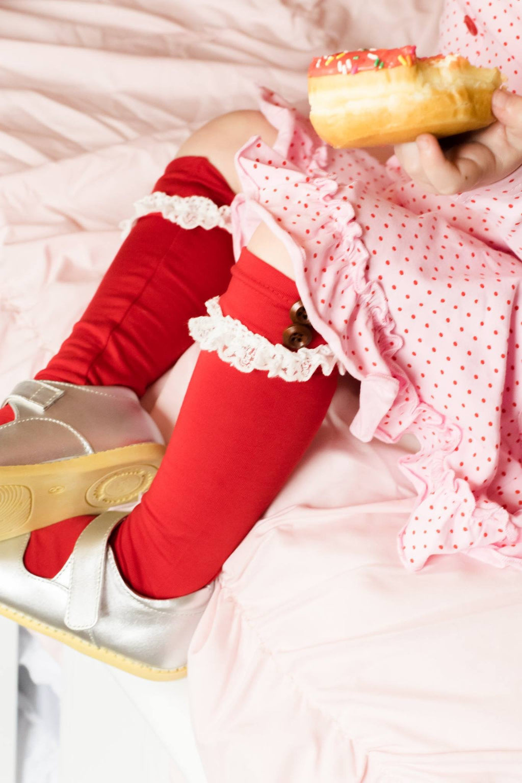Red Lace Knee Socks - Layton & Co