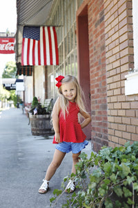 Red + White Dot Peplum