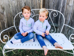 Boy's Gray Henley with Mint + Bubblegum Trim - Layton & Co