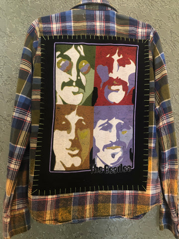 The Beatles Upcycled Flannel From Band Camper