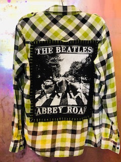The Beatles Abbey Rd Upcycled Flannel From Band Camper