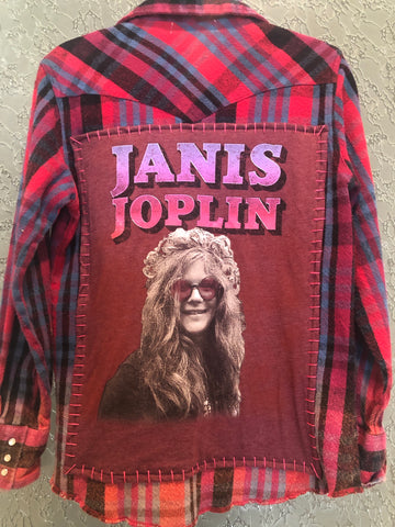 Janis Joplin Upcycled Flannel From Band Camper