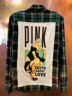 Pink The Truth About Love Upcycled Flannel From Band Camper
