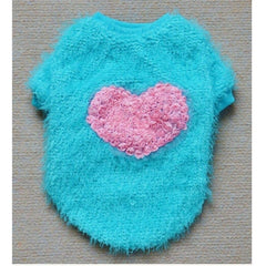 Fuzzy Heart Sweater for Dogs - Blue only