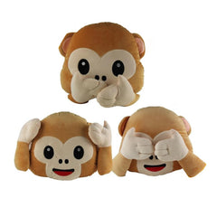 Hear No Evil, Speak No Evil, See No Evil Monkey Emoticon Pillows