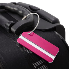Colorful Aluminum Keyring Luggage Tags -Set of Two - Red, Purple, Pink, Orange, Grey or Blue