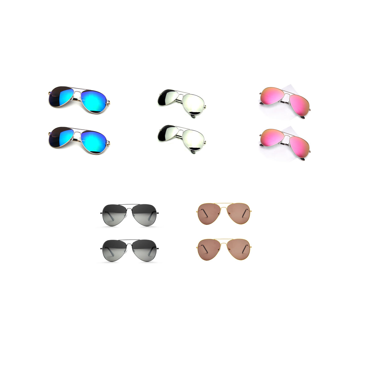 shopify-Vintage Style Aviator Mirrored Sunglasses - Silver, Blue, Black, Pink or Bronze-1