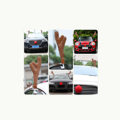 Car Holiday Reindeer Antler and Red Nose Auto Decoration Kit
