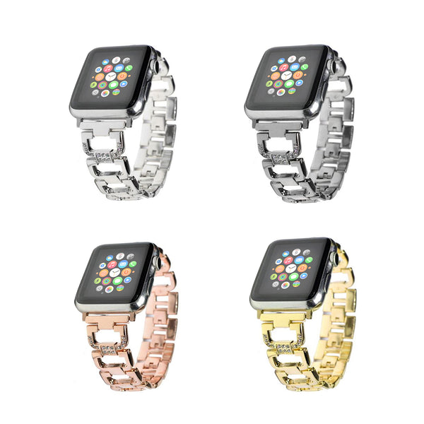 Crystal Stainless Steel Replacement Band for Apple Watch Series 1, 2, & 3