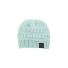 Girls Ponytail Beanie - Black, Beige, Pink, White or Mint Green