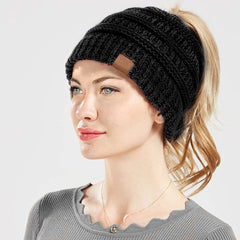 Womens Ponytail Beanie - Black, White, Pink, Mint or Beige