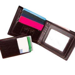 RFID Blocking Men's Leather Wallet With Removable Card Case