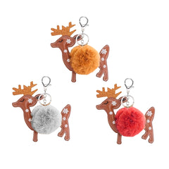 Christmas Pom Pom Puff Ball Poof Keychains (Singles and 2 Packs) Reindeer
