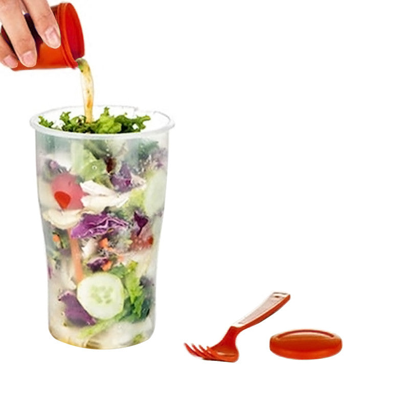 shopify-Salad or Lunch To Go Container w Fork and Dressing Cup- Two pack - Red or Green-7
