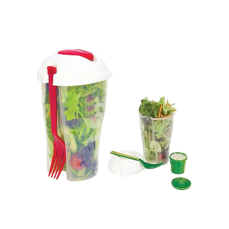 shopify-Salad or Lunch To Go Container w Fork and Dressing Cup- Two pack - Red or Green-1