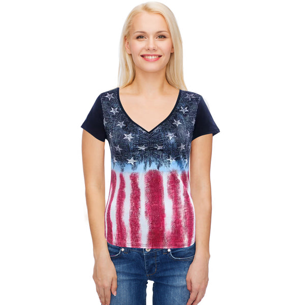 Short Sleeve American Flag T-Shirt - Small - Large