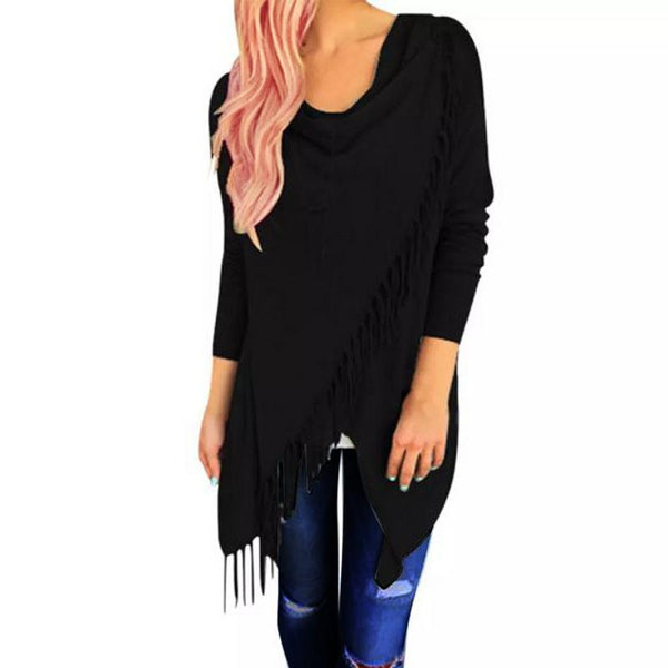 Cardigan Poncho With Tassels - Black, Grey or White