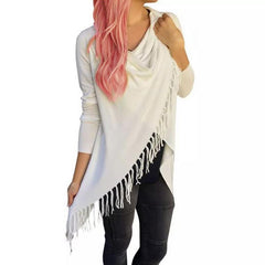 Cardigan Poncho With Tassels